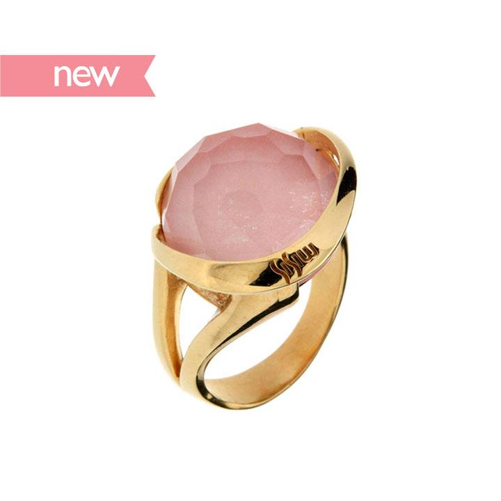 925银镀18k金粉色欧泊水晶戒指